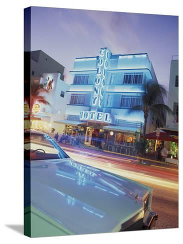 Colony Hotel and Classic Car, South Beach, Art Deco Architecture, Miami, Florida, Usa-Robin Hill-Stretched Canvas Print