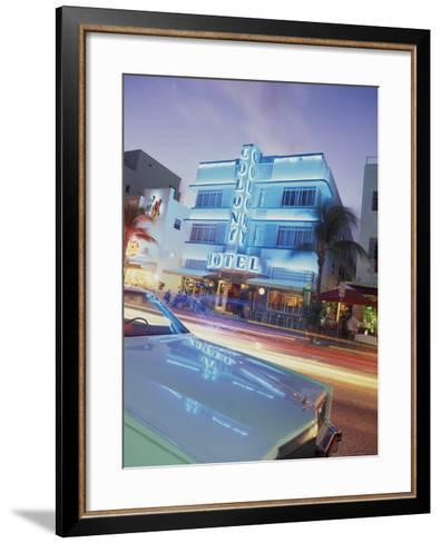 Colony Hotel and Classic Car, South Beach, Art Deco Architecture, Miami, Florida, Usa-Robin Hill-Framed Art Print