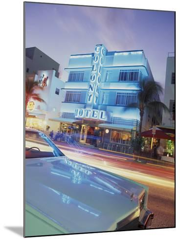 Colony Hotel and Classic Car, South Beach, Art Deco Architecture, Miami, Florida, Usa-Robin Hill-Mounted Photographic Print