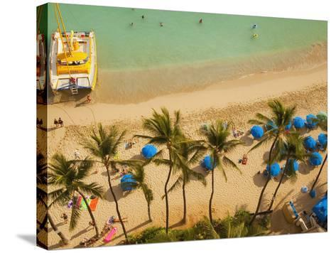 Waikiki Beach, Honolulu, Oahu, Hawaii, Usa-Douglas Peebles-Stretched Canvas Print
