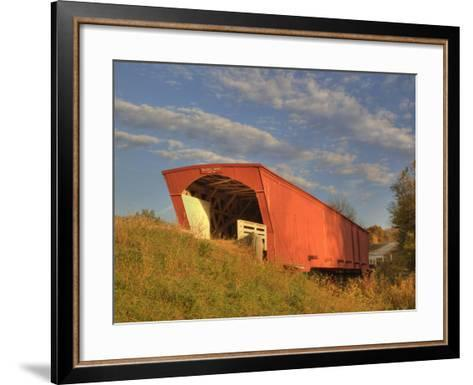 Holliwell Covered Bridge Spans Middle River, Built in 1880, Madison County, Iowa, Usa-Jamie & Judy Wild-Framed Art Print