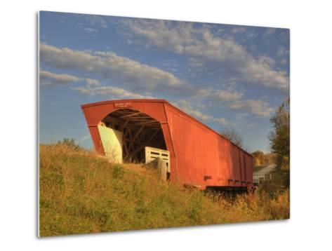 Holliwell Covered Bridge Spans Middle River, Built in 1880, Madison County, Iowa, Usa-Jamie & Judy Wild-Metal Print