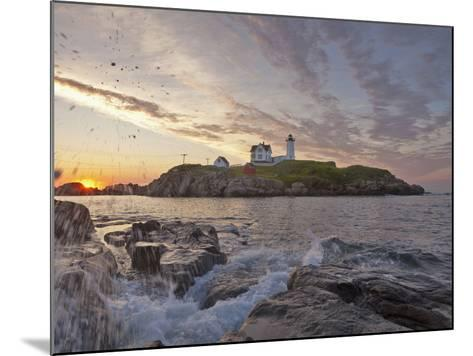 Waves Crash on Rocky Shoreline at Nubble Aka Cape Neddick Lighthouse in York, Maine, Usa-Chuck Haney-Mounted Photographic Print
