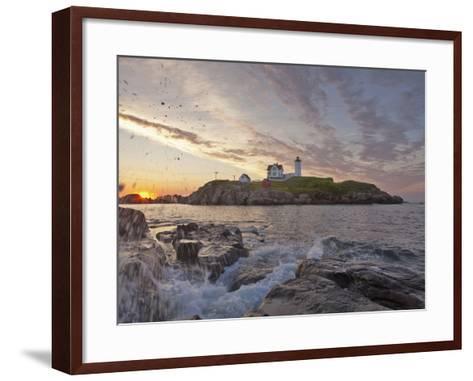 Waves Crash on Rocky Shoreline at Nubble Aka Cape Neddick Lighthouse in York, Maine, Usa-Chuck Haney-Framed Art Print