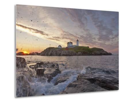 Waves Crash on Rocky Shoreline at Nubble Aka Cape Neddick Lighthouse in York, Maine, Usa-Chuck Haney-Metal Print