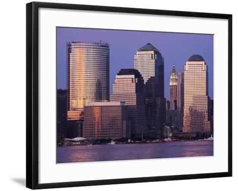 Setting Sun Reflects Off Building Windows on Manhattan Skyline, New York City, New York, Usa-Paul Souders-Framed Art Print