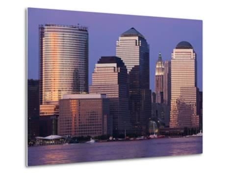 Setting Sun Reflects Off Building Windows on Manhattan Skyline, New York City, New York, Usa-Paul Souders-Metal Print