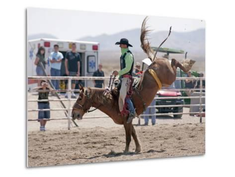 Competitor in the Bronco Riding Event During the Annual Rodeo Held in Socorro, New Mexico, Usa-Luc Novovitch-Metal Print