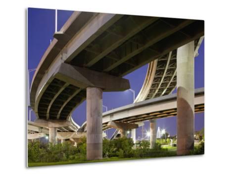 Interstate Highway Bridge Overpass at Dusk on Summer Evening, Charleston, South Carolina, Usa-Paul Souders-Metal Print