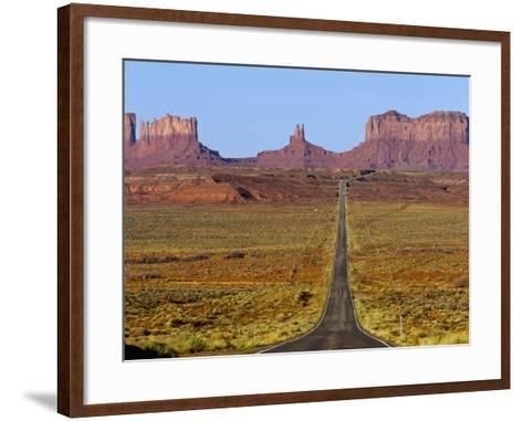 Highway 163 Leads to Monument Valley Navajo Tribal Park on the Arizona and Utah State Line, Usa-Chuck Haney-Framed Art Print