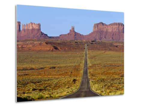 Highway 163 Leads to Monument Valley Navajo Tribal Park on the Arizona and Utah State Line, Usa-Chuck Haney-Metal Print