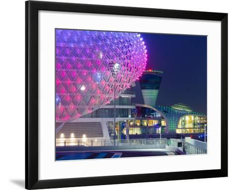United Arab Emirates, Abu Dhabi, Yas Island, the Yas Hotel and Yas Marina Grand Prix Motor Racing C-Alan Copson-Framed Art Print
