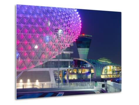 United Arab Emirates, Abu Dhabi, Yas Island, the Yas Hotel and Yas Marina Grand Prix Motor Racing C-Alan Copson-Metal Print