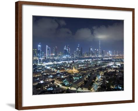 United Arab Emirates, Dubai, Skyline of Modern Skyscrapers Including the Burj Khalifa on Sheikh Zay-Gavin Hellier-Framed Art Print
