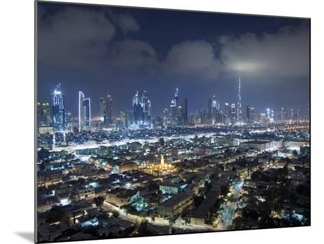 United Arab Emirates, Dubai, Skyline of Modern Skyscrapers Including the Burj Khalifa on Sheikh Zay-Gavin Hellier-Mounted Photographic Print