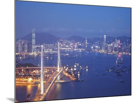 Stonecutters Bridge, Victoria Harbour and Hong Kong Island at Dusk, Hong Kong, China-Ian Trower-Mounted Photographic Print