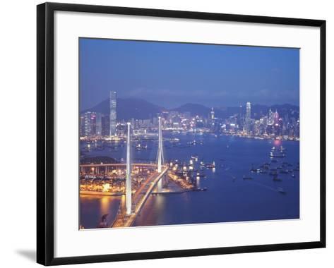 Stonecutters Bridge, Victoria Harbour and Hong Kong Island at Dusk, Hong Kong, China-Ian Trower-Framed Art Print