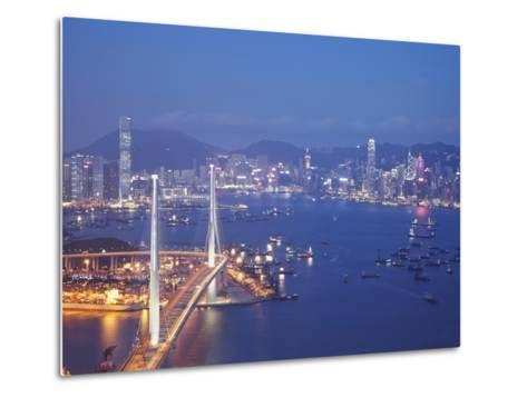 Stonecutters Bridge, Victoria Harbour and Hong Kong Island at Dusk, Hong Kong, China-Ian Trower-Metal Print