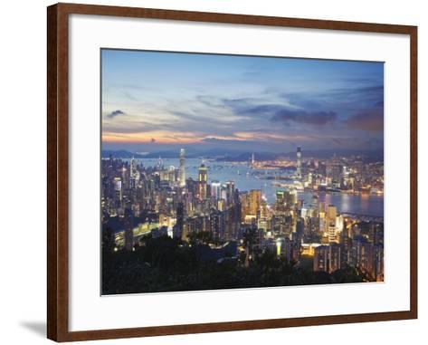 Hong Kong Island and Kowloon Skylines at Sunset, Hong Kong, China-Ian Trower-Framed Art Print