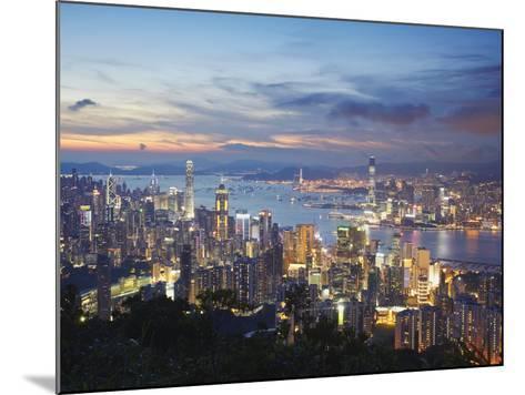 Hong Kong Island and Kowloon Skylines at Sunset, Hong Kong, China-Ian Trower-Mounted Photographic Print