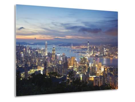 Hong Kong Island and Kowloon Skylines at Sunset, Hong Kong, China-Ian Trower-Metal Print