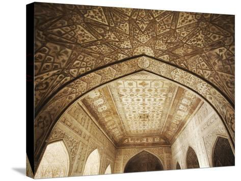 Ceiling of Khas Mahal in Agra Fort, Agra, Uttar Pradesh, India-Ian Trower-Stretched Canvas Print