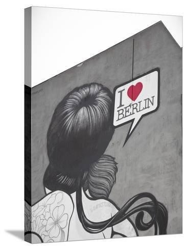 I Love Berlin' Mural on Building, Berlin, Germany-Jon Arnold-Stretched Canvas Print