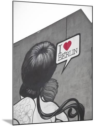 I Love Berlin' Mural on Building, Berlin, Germany-Jon Arnold-Mounted Photographic Print