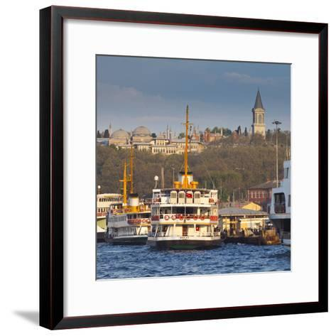 Topkapi Palace and Ferries on the Waterfront of the Golden Horn, Istanbul, Turkeyistanbul, Turkey-Jon Arnold-Framed Art Print