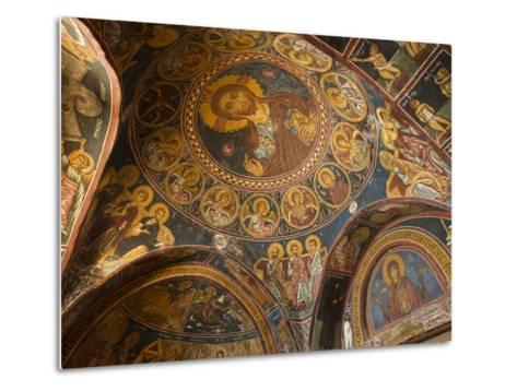 Historical Wallpaintings in Panagia Forviotissa Church in Asinou, Troodos Mountains, Cyprus-Katja Kreder-Metal Print