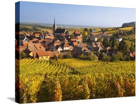 France, Bas-Rhin, Alsace Region, Alasatian Wine Route, Blienschwiller, Town Overview from Vineyards-Walter Bibikow-Stretched Canvas Print