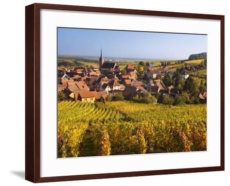 France, Bas-Rhin, Alsace Region, Alasatian Wine Route, Blienschwiller, Town Overview from Vineyards-Walter Bibikow-Framed Art Print