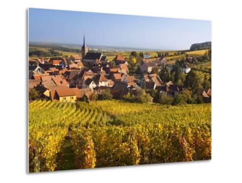 France, Bas-Rhin, Alsace Region, Alasatian Wine Route, Blienschwiller, Town Overview from Vineyards-Walter Bibikow-Metal Print