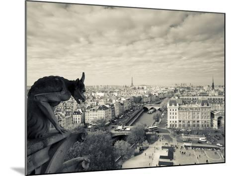 France, Paris, View from the Cathedrale Notre Dame Cathedral with Gargoyles-Walter Bibikow-Mounted Photographic Print