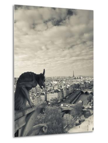 France, Paris, View from the Cathedrale Notre Dame Cathedral with Gargoyles-Walter Bibikow-Metal Print