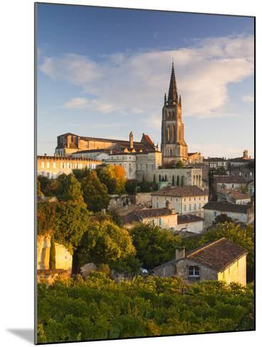 France, Aquitaine Region, Gironde Department, St-Emilion, Wine Town, Town View with Eglise Monolith-Walter Bibikow-Mounted Photographic Print