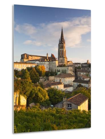 France, Aquitaine Region, Gironde Department, St-Emilion, Wine Town, Town View with Eglise Monolith-Walter Bibikow-Metal Print