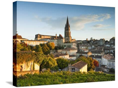 France, Aquitaine Region, Gironde Department, St-Emilion, Wine Town, Town View with Eglise Monolith-Walter Bibikow-Stretched Canvas Print