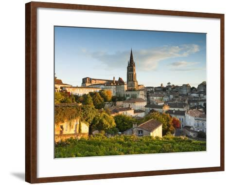France, Aquitaine Region, Gironde Department, St-Emilion, Wine Town, Town View with Eglise Monolith-Walter Bibikow-Framed Art Print