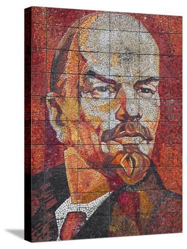 Russia, Black Sea Coast, Sochi, Riviera Park, Revolutionary Mosaic of Vladimir Lenin-Walter Bibikow-Stretched Canvas Print