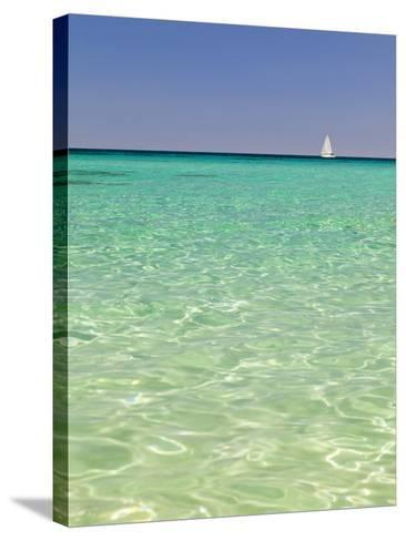 Italy, Sardinia, Olbia-Tempo, Berchidda, a Sailing Boat Out at Sea-Nick Ledger-Stretched Canvas Print