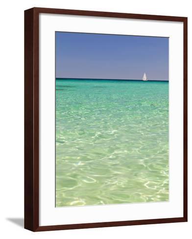 Italy, Sardinia, Olbia-Tempo, Berchidda, a Sailing Boat Out at Sea-Nick Ledger-Framed Art Print