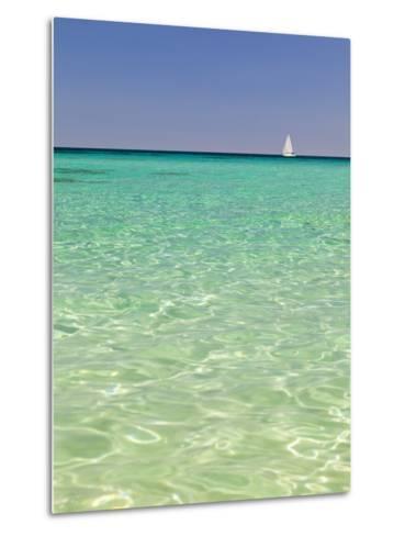 Italy, Sardinia, Olbia-Tempo, Berchidda, a Sailing Boat Out at Sea-Nick Ledger-Metal Print