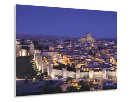 Spain, Castilla Y Leon Region, Avila Province, Avila, Las Murallas, Town Walls, Elevated View-Walter Bibikow-Metal Print