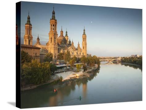 Spain, Aragon Region, Zaragoza Province, Zaragoza, Basilica De Nuestra Senora De Pilar on the Ebro -Walter Bibikow-Stretched Canvas Print
