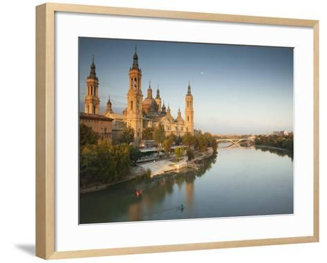 Spain, Aragon Region, Zaragoza Province, Zaragoza, Basilica De Nuestra Senora De Pilar on the Ebro -Walter Bibikow-Framed Art Print