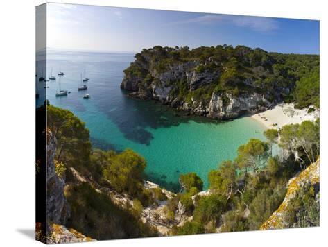 Elevated View over the Beach of Cala Macarelleta, Menorca, Balearic Islands, Spain-Doug Pearson-Stretched Canvas Print