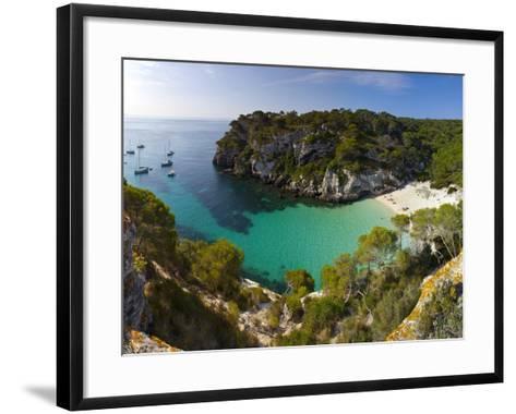 Elevated View over the Beach of Cala Macarelleta, Menorca, Balearic Islands, Spain-Doug Pearson-Framed Art Print