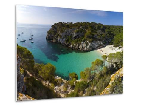 Elevated View over the Beach of Cala Macarelleta, Menorca, Balearic Islands, Spain-Doug Pearson-Metal Print
