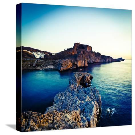Lindos Acropolis and Harbour, Lindos, Rhodes, Greece-Doug Pearson-Stretched Canvas Print